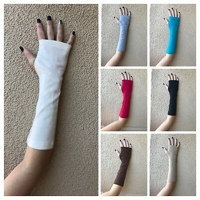 Arm Warmers Fingerless Gloves w/ Thumb hole  Elbow Length Jersey Knit USA Seller
