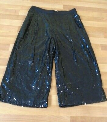 M&S Marks & Spencer girls black sequin culottes 9-10 BRAND NEW