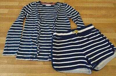 Mini Boden Johnnie B bundle long sleeve top ruffle shorts 9-10 navy stripe