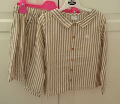 No Added Sugar biscuit stripe outfit blouse top skirt immaculate 7-8 9-10 & bow