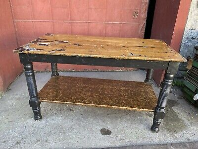 1890s Oak Mercantile Table Country Store TV Stand Kitchen Island Farmhouse