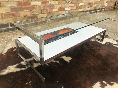 Vintage 1960'S Glass Top Coffee Table With Ceramic Tiles And Chrome.