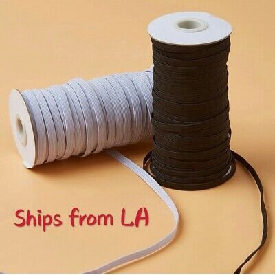 """Elastic Band Flat Braided Cord 1/5"""" (5mm) White/Black for Face-Ship from LA"""