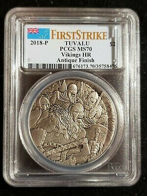 2018 Vikings 2 OZ Silver High Relief Antiqued Coin PCGS MS70 First Strike-Tuvalu