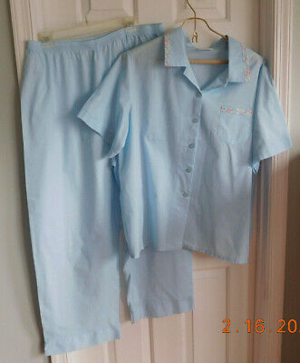 NWOT BLUE w/FLORAL EMBROIDERY NATIONAL WOMEN'S COTTON PAJAMA SET IN SIZE 2X