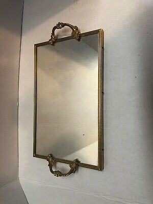 Vintage Rectangle Mirrored Vanity Makeup Tray