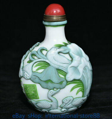 "3.8"" Marked Old China Colored Glaze Palace Mandarin Duck Lotus Snuff Bottle"