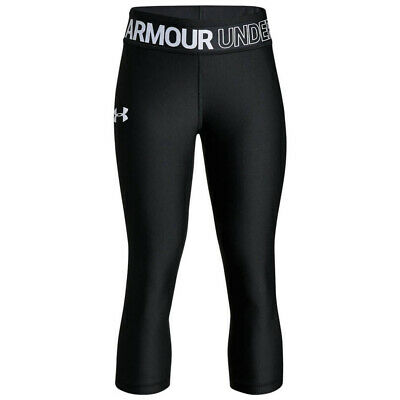 Under Armour HeatGear Armour Kids Girls Fitness Capri Tight Black