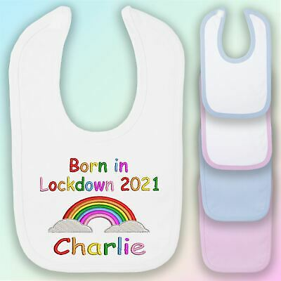 Personalised Born in Lockdown Embroidered Baby Bib Gift Unisex