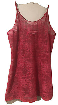 Victoria's Secret Sheer Red Lace Mesh Slip Gown Chemise Babydoll Large
