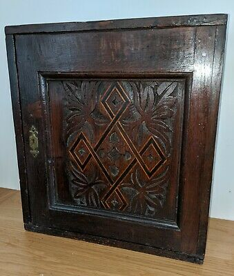 17th Century Charles I Carved Inlaid Oak Spice Chest Cupboard circa 1630