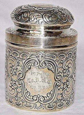 """Antique Repousse Sterling Silver """"1st Prize"""" Container Canister"""