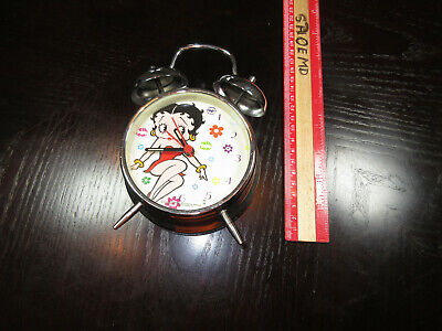 "6 "" Tall Betty Boop Red Dress Sliver Clock Sliver Vintage"