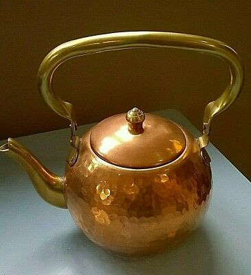 ANTIQUE COPPER SMALL Hand Hammered Teapot Kettle Brass
