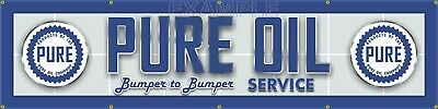 "PURE OIL GAS SERVICE STATION MAIN LETTER SIGN REMAKE BANNER ART MURAL 24"" x 96"""