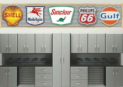 OLD GAS STATION SIGN COLLECTION INSTANT DISPLAY BANNER GARAGE ART MURAL 4' x 20'