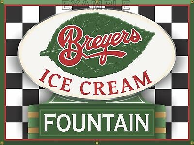 Breyers Ice Cream Fountain Parlor Diner Old Sign Remake Print Banner Art 3' X 4'