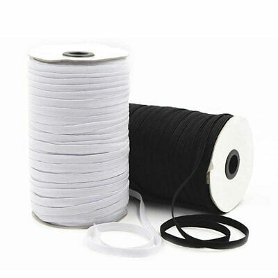 QUALITY 5mm White Black Flat Elastic Cord For Sewing Dressmaking Face Masks