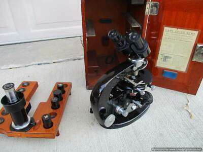Vintage Carl Zeiss Jena Microscope Nr. 288931 With Wooden Case