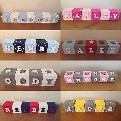 Personalised Childrens Name Blocks Wooden Kids Bedroom Nursery Decoration