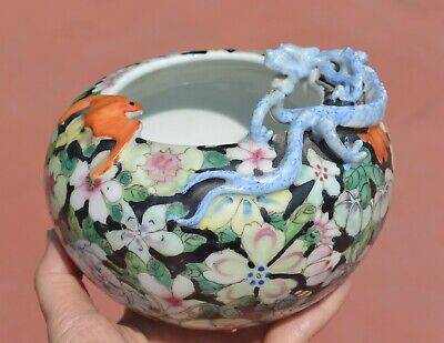 Chinese Famille Rose Noire Porcelain MilleFleur Lizard Scholar Brush Washer Bowl