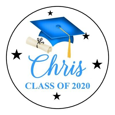 """24 2"""" Round Class Of 2020 Graduation Hat Stickers Labels Personalized Blue"""