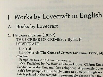 H P ..LOVECRAFT by JOSHI 1981 HDBK BIBLIOGRAPHY