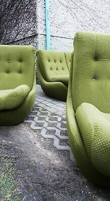 MODERN SET FURNITURE 'ATLANTIS' SOFA + 2 ARMCHAIRS FROM 60s