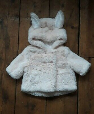 Next|Faux Fur Pink Coat|Bunny Ears|Up To 1 Month|Fluffy|Baby Girl.