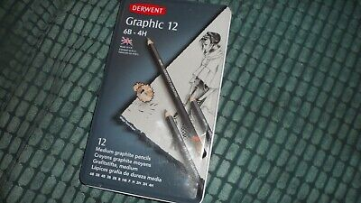 Derwent Graphic Medium Graphite Pencils, 6B-4H - Set of 12 Brand New
