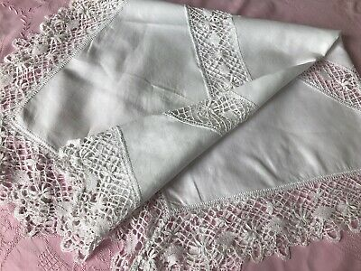 White Linen Supper Tablecloth, Hand-Made Bobbin Cluny Lace Insert & Edging