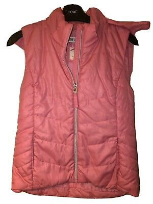 H&M Girls Pink Hooded Body Warmer (gilet) Age 8-10