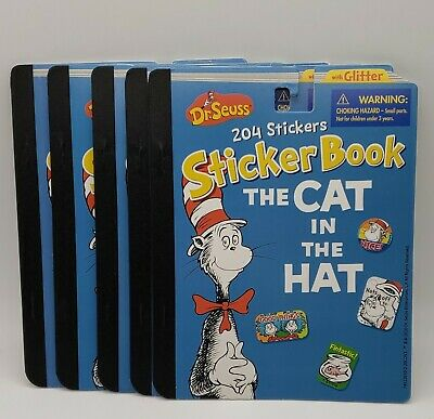 5X Dr. Seuss The Cat In The Hat Sticker Book 204 Stickers Ea.