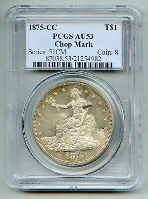 1875 CC Trade Silver Dollar PCGS AU 53 Chop Mark