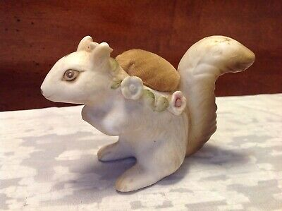 Vintage Ceramic Porcelain Squirrel Pin Cushion Figurine