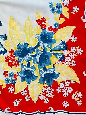 Vintage 1950's table cloth, Colorful flowers, blue bells