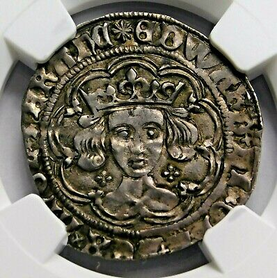 NGC AU-53. YORK. Edward IV Rare Groat. War of the Roses. England Silver Coin