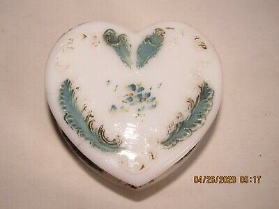 Vintage milk glass heart shaped trinket jewelry box