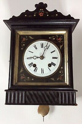 Antique 19th c German Black Forest wall clock, nice running condition; see video