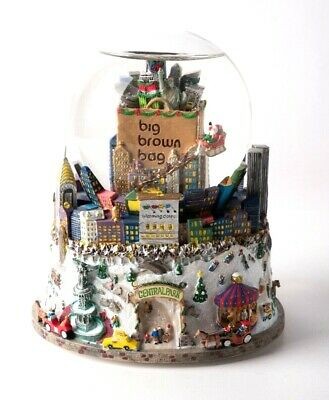 Snow Globe Music Box New York City Twin Towers Bloomingdale's Subway Christmas