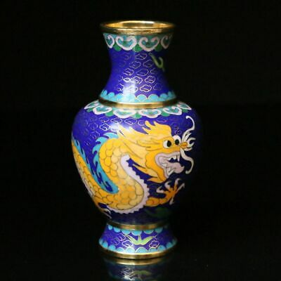 150mm Chinese Exquisite Handmade drawn Copper Cloisonne Enamel  Dragon Vase