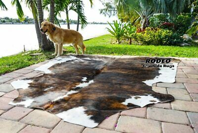 Black and White approx 6X7 feet Brazilian Rodeo Cowhide Rug Salt and Pepper