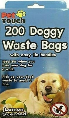 Pet Touch 200 Piece Doggy Waste Poo Bags Lemon Scented Tie Handles FREE P&P