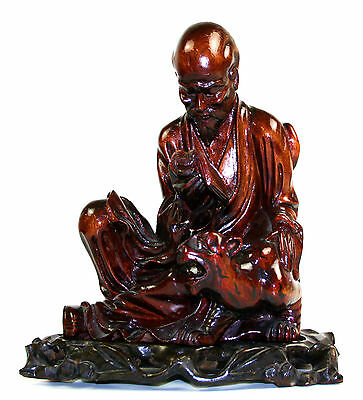 Chinese Divinity. Old Man Reading. Carved Wood. China. First Half Of The Xxth.