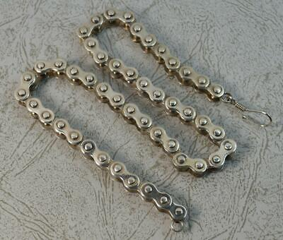 """Heavy and Solid 16"""" Long Sterling Silver Bike Chain Link Necklace"""