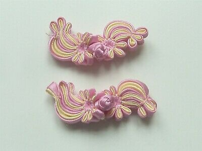 2 Beautiful Silk Flower Frog Fasteners - Pink & Lemon