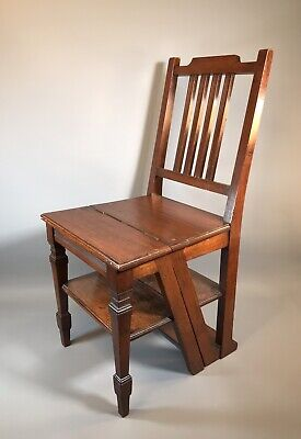 Antique Edwardian Mahogany Metamorphic Library Steps / Chair