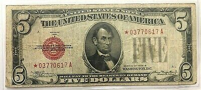 1928 B $5 Red Seal Star Note - XF