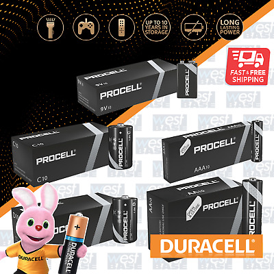 DURACELL PROCELL AA AAA C D 9V Alkaline Batteries NEW INDUSTRIAL MN1500 MN2400