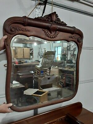 Antique Vintage Vanity Table and Antique Mirror Set Victorian Style